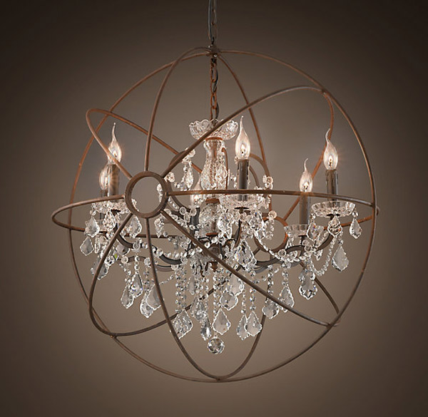 of this rustic iron orb crystal chandelier from restoration hardware