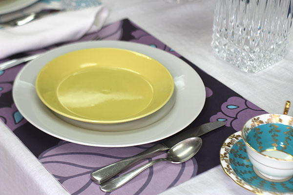 yellow plate purple mat